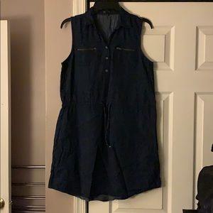 4/$25 New Look Denim Cinch Tie Waist Dress size Md